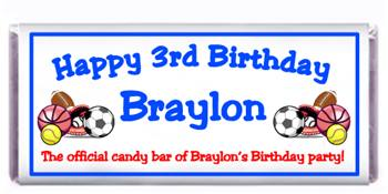 Childrens Birthday Sports Candy Bar