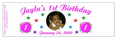 Childrens Birthday Photo Burst Water Bottle Labels