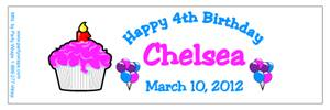 Childrens Birthday Cupcake Water Bottle Labels