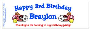 Childrens Birthday Sports Water Bottle Labels