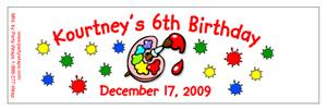 Childrens Birthday Paint Water Bottle Labels