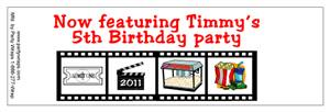 Childrens Birthday Movie Film Bottle Labels