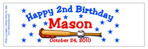 Childrens Birthday Baseball Water Bottle Labels