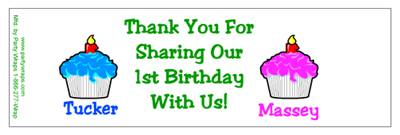 Childrens Birthday Double Cupcake Water Bottle Labels
