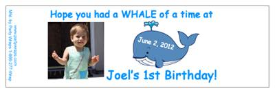 Childrens Birthday Whale Water Bottle Labels