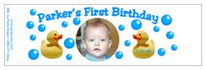 Childrens Birthday Ducky Water Bottle Labels
