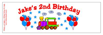 Childrens Birthday Train Water Bottle Labels