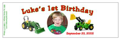 Childrens Birthday Tractor Water Bottle Labels