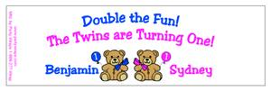 Childrens Birthday Double Teddy Water Bottle Labels