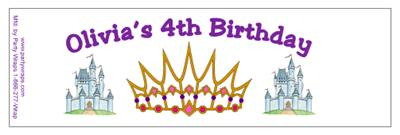 Childrens Birthday Princess Crown Water Bottle Labels