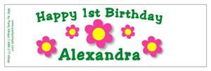 Childrens Birthday Daisy Dots Water Bottle Labels