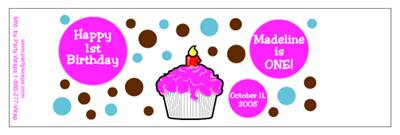 Childrens Birthday Cupcake Dots Water Bottle Labels