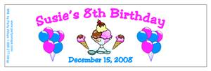 Childrens Birthday Ice Cream Water Bottle Labels