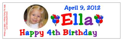 Childrens Birthday Photo Color Water Bottle Labels