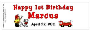 Childrens Birthday Fireman Water Bottle Labels