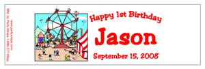 Childrens Birthday Ferris Wheel Water Bottle Labels