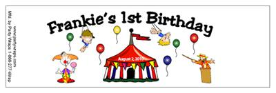 Childrens Birthday Circus Tent Water Bottle Labels
