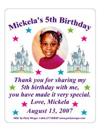 Childrens Birthday Photo Castle Label
