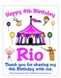 Childrens Birthday Circus Tent Label