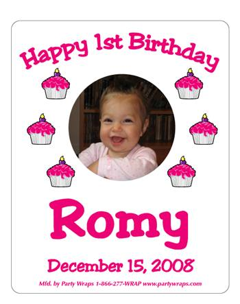 Childrens Birthday Photo Cupcake Label