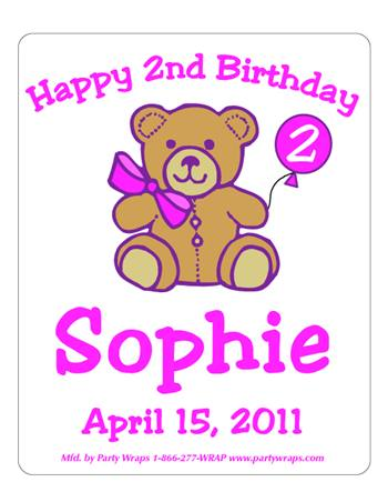 Childrens Birthday Teddy Label