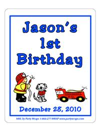 Childrens Birthday Fireman Label