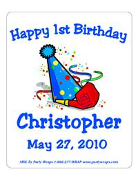 Childrens Birthday Party Hat Label