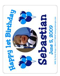 Childrens Birthday Photo Balloon Label