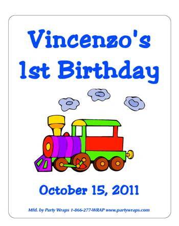 Childrens Birthday Train Label