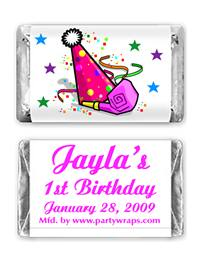 Children's Birthday Miniature Candy Bars - with a Graphic