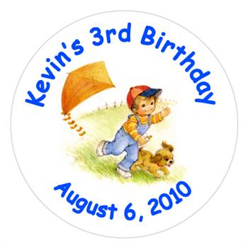 Childrens Birthday Boy Kite Label