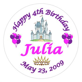 Childrens Birthday Castle Label