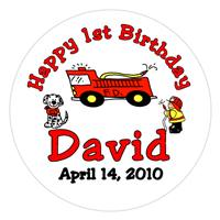 Children Birthday Fire Truck Lollipop