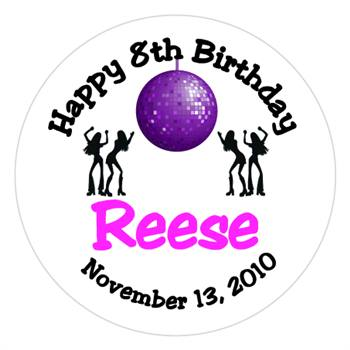 Childrens Birthday Disco Label