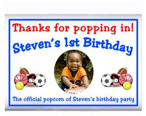 Childrens Birthday Photo Sports Popcorn