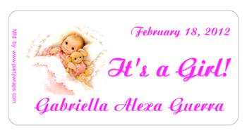 Birth Announcement Sleeping Baby Label