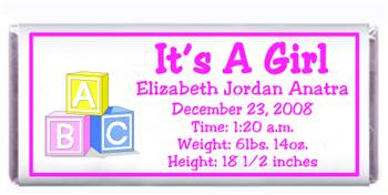 Birth Announcement Blocks Candy Bar