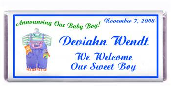 Birth Announcement Overalls Candy Bar