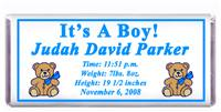 Birth Announcement Double Bear Candy Bar