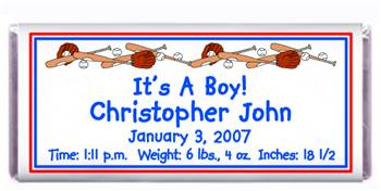 Birth Announcement Baseball Candy Bar