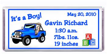 Birth Announcement Jeep Candy Bar
