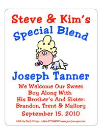 Birth Announcement Cartoon Baby Label