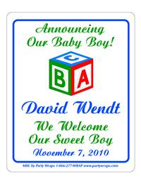 Birth Announcement Block Label