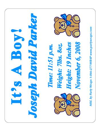 Birth Announcement Double Bear Label