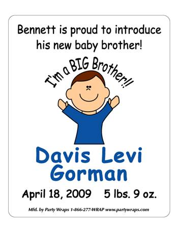 Birth Announcement Cartoon Boy Label