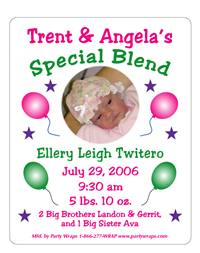 Birth Announcement Photo Balloons Label
