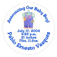 Birth Announcement Overalls Label