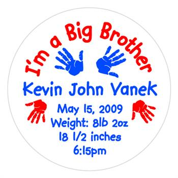 Birth Announcement Big Brother Hands Lollipop