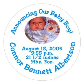 Birth Announcement Photo & Stars Label