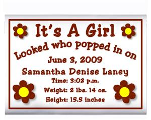 Birth Announcement Daisy Dots Popcorn